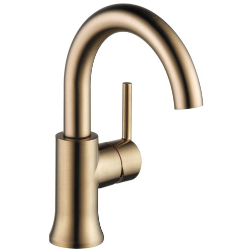 Delta Trinsic Collection Champagne Bronze Finish Single Handle Modern High-Arc Spout Lavatory Bathroom Sink Faucet with Metal Pop-up Drain D559HACZDST