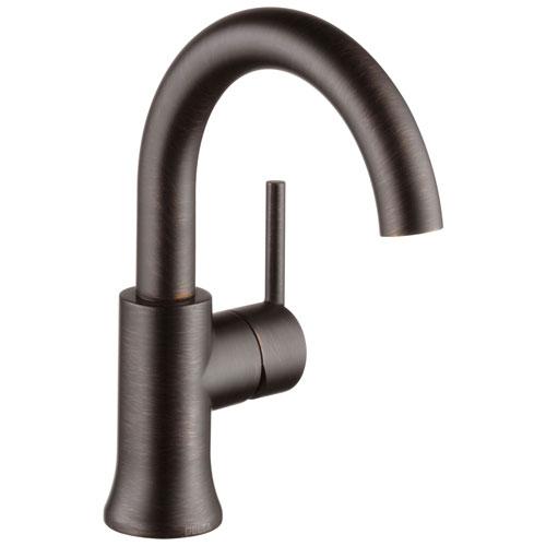 Delta Trinsic Collection Venetian Bronze Finish Single Handle Modern High-Arc Spout Lavatory Bathroom Sink Faucet with Metal Pop-up Drain D559HARBDST