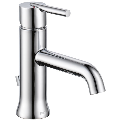 Delta Trinsic Collection Chrome Finish Single Handle Water Efficient Modern Bathroom Sink Lavatory Faucet with Metal Pop-up Drain D559LFGPMMPU