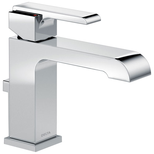 Delta Ara Collection Chrome Finish Single Handle Water Efficient Lavatory Bathroom Sink Faucet with Metal Pop-Up Drain D567LFGPMMPU