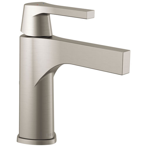 Delta Zura Collection Stainless Steel Finish Single Handle Modern One Hole Bathroom Lavatory Sink Faucet with Metal Pop-up Drain 743894