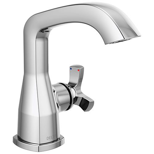 Delta Stryke Chrome Finish Single Hole Bathroom Sink Faucet Includes Helo Cross Handle and Matching Drain D3600V
