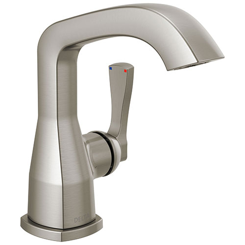 Delta Stryke Stainless Steel Finish Single Hole Bathroom Sink Faucet Includes Lever Handle and Matching Drain D3597V