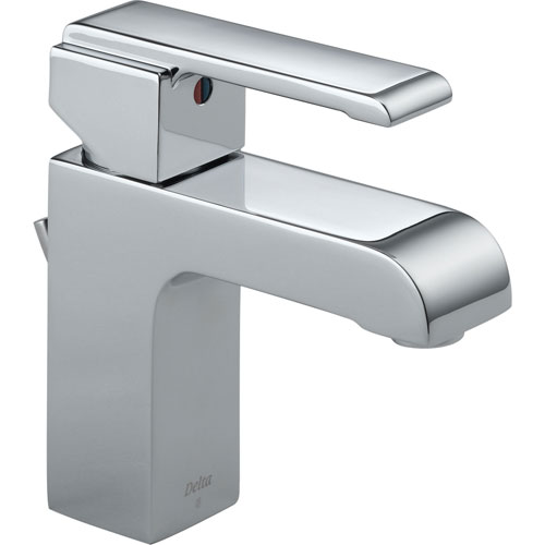 Delta Arzo Modern Single Handle Mid-Arc Chrome Square Bathroom Faucet 474290