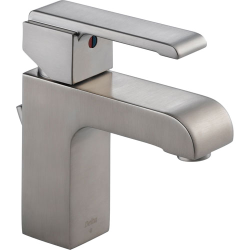 Delta Arzo Modern 1-Handle Stainless Steel Finish Square Bathroom Faucet 474291