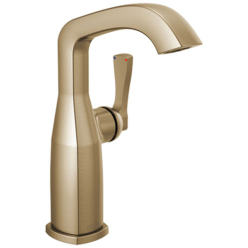 Delta Stryke Champagne Bronze Finish Mid-Height Spout Single Hole Bathroom Sink Faucet Includes Lever Handle D3593V