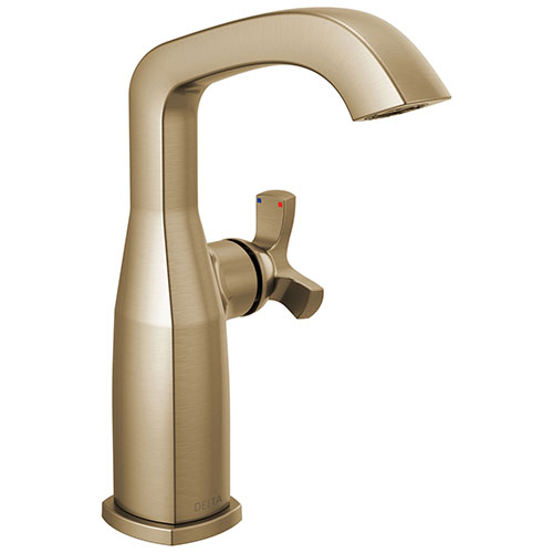 Delta Stryke Champagne Bronze Finish Mid-Height Spout Single Hole Bathroom Sink Faucet Includes Helo Cross Handle D3594V