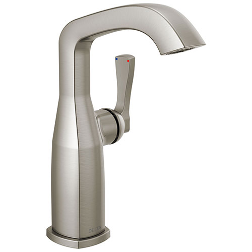 Delta Stryke Stainless Steel Finish Mid-Height Spout Single Hole Bathroom Sink Faucet Includes Lever Handle D3589V