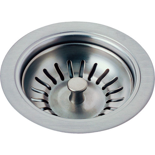 Delta 4-1/2 inch Arctic Stainless Finish Kitchen Sink Flange and Strainer 638400