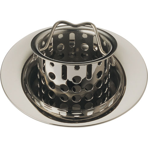 Delta 2-7/8 inch Polished Nickel Small Bar Sink Basket Strainer & Flange 607604