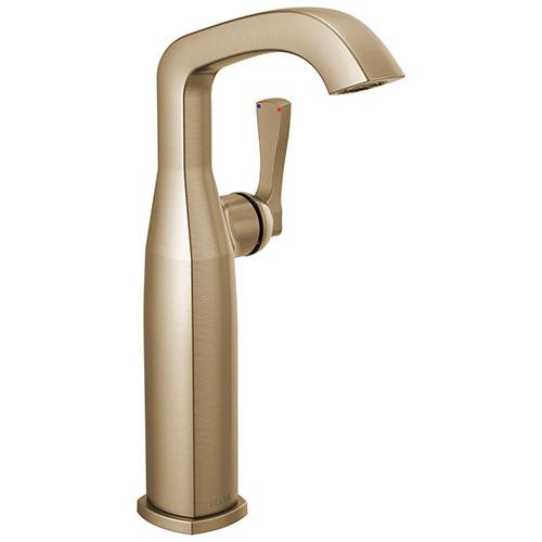 Delta Stryke Champagne Bronze Finish Vessel Sink Faucet Includes Single Lever Handle D3585V