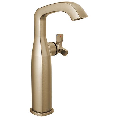Delta Stryke Champagne Bronze Finish Vessel Sink Faucet Includes Single Helo Cross Handle D3586V