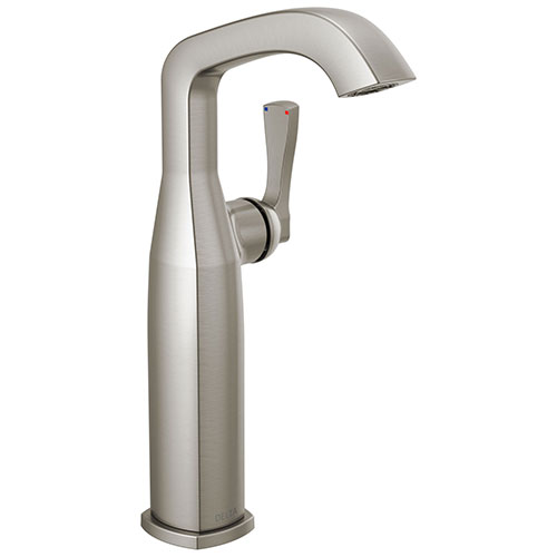 Delta Stryke Stainless Steel Finish Vessel Sink Faucet Includes Single Lever Handle D3581V