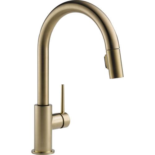 Delta Trinsic Modern Champagne Bronze Pull-Down Sprayer Kitchen Faucet 542659