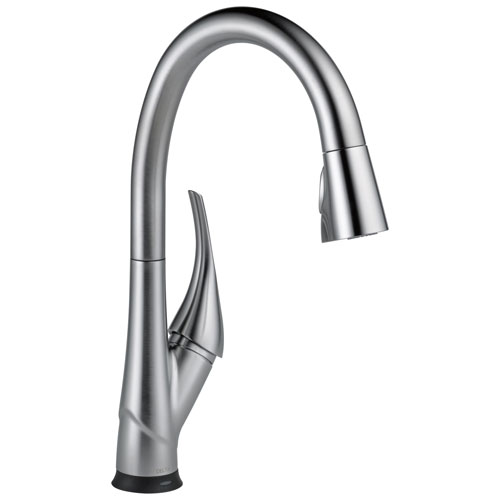 Delta Esque Collection Arctic Stainless Steel Finish Single-Handle Pull-Down Electronic Kitchen Sink Faucet with Touch2O Technology D9181TARDST