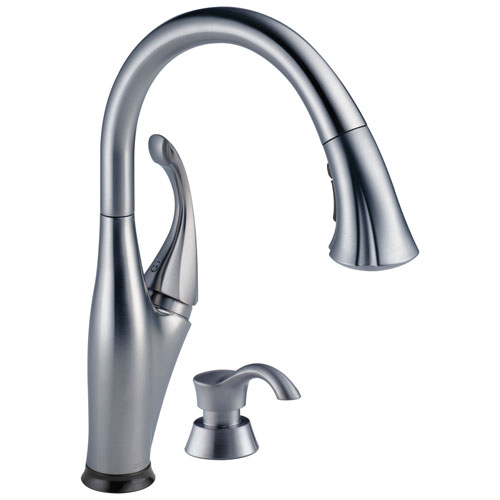 Delta Addison Collection Arctic Stainless Steel Finish 1 Handle Pull-Down Electronic Kitchen Sink Faucet with Touch2O Technology and Soap Dispenser 732739