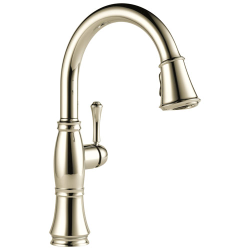 Delta Cassidy Collection Polished Nickel Finish Single Handle Pull-Down Kitchen Sink Faucet 751596