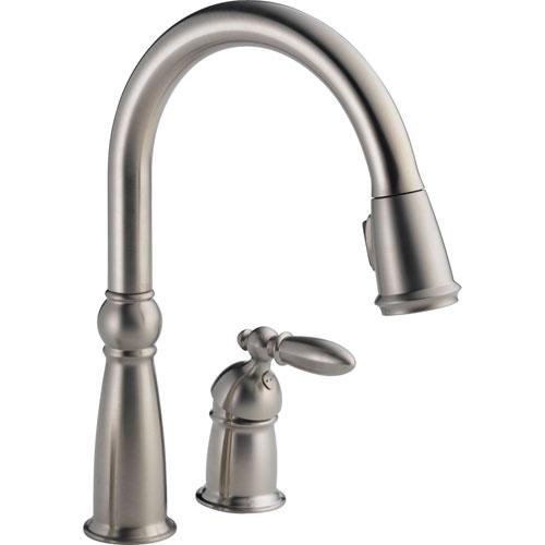 Delta Victorian Brilliance Stainless Pull-Down Sprayer Kitchen Faucet 463293