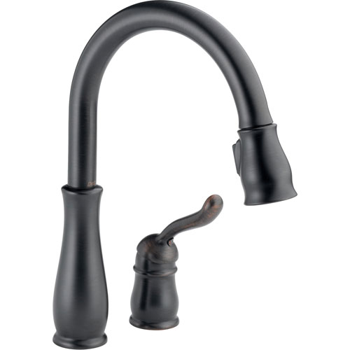 Delta Leland Venetian Bronze Two Hole Pull-Down Sprayer Kitchen Faucet 495532