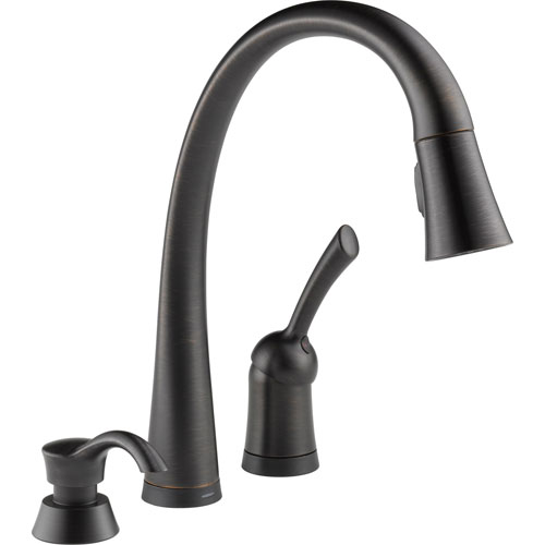 Delta Pilar Touch2O Venetian Bronze Pull-Down Sprayer Faucet w/Dispenser 608667