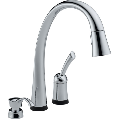Delta Pilar Touch2O Chrome Pull-Down Sprayer Kitchen Faucet w/Dispenser 460700