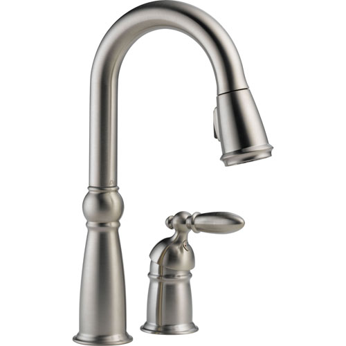 Delta Victorian Brilliance Stainless 1 Handle Pull-Down Spray Bar Faucet 463296