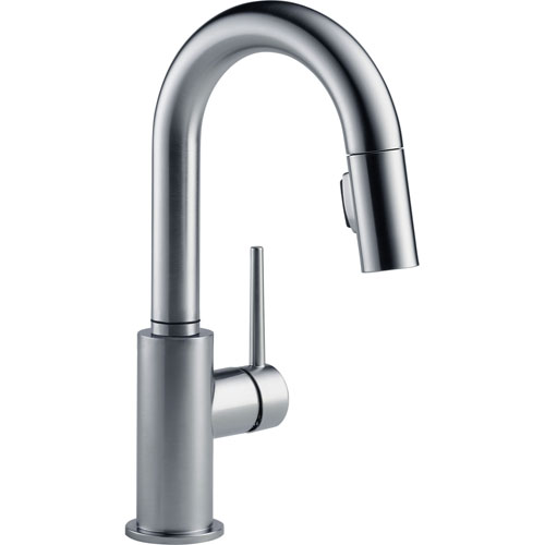 Delta Trinsic Modern Arctic Stainless Finish Pull-Down Sprayer Bar Faucet 542654