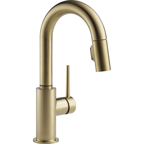 Delta Trinsic Modern Champagne Bronze 1-Hole Pull-Down Sprayer Bar Faucet 542655