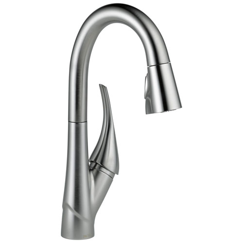 Delta Esque Collection Arctic Stainless Steel Finish Single Handle Pull-down Modern One Hole Bar / Prep Sink Faucet D9981ARDST