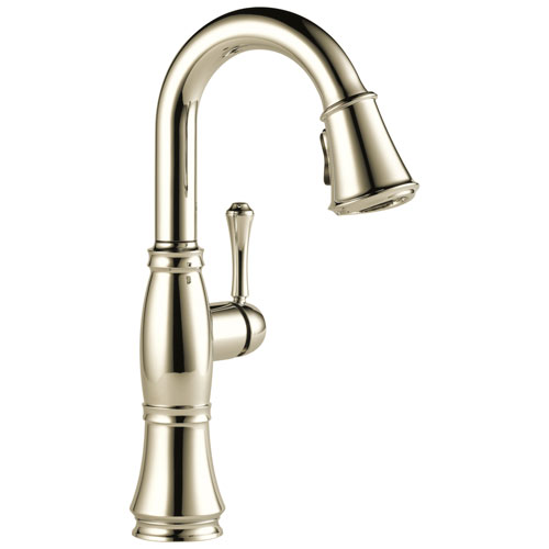 Delta Cassidy Collection Polished Nickel Finish Single Handle Pull-Down Bar / Prep Sink Faucet 751590