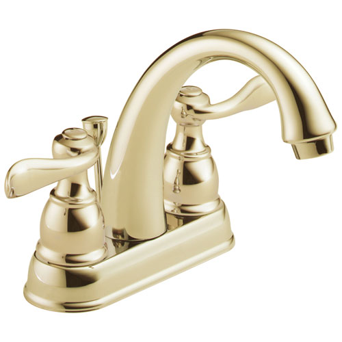 Delta Windemere Collection Polished Brass Finish Two Handle Centerset Bathroom Sink Faucet with Metal Pop-up Drain DB2596LFPB