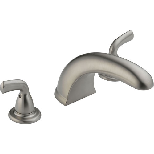 Delta Stainless Steel Finish Widespread Roman Tub Filler Faucet with Valve D930V
