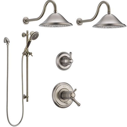 Delta Cassidy Stainless Steel Finish Shower System with Dual Thermostatic Control Handle, 6-Setting Diverter, 2 Showerheads, Hand Shower CUSTOM282V