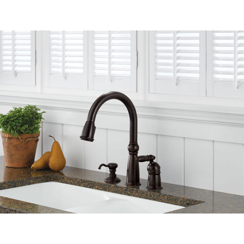 Delta Victorian Collection Venetian Bronze Finish Single Handle Pull Down Kitchen Sink Faucet and Soap Dispenser Package D024CR
