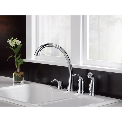 Delta Chrome Finish Pilar Modern Single Handle Kitchen Sink Faucet with Side Spray and Deck Mount Soap Dispenser Package D067CR