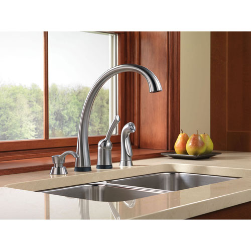 Delta Arctic Stainless Finish Pilar Single Handle Kitchen Faucet with Touch2O Technology and Side Spray and Deck Mount Soap Dispenser Package D070CR