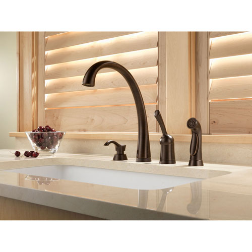 Delta Pilar Venetian Bronze Finish Single Handle Kitchen Faucet with Touch2O Technology and Side Spray and Deck Mounted Soap Dispenser Package D073CR