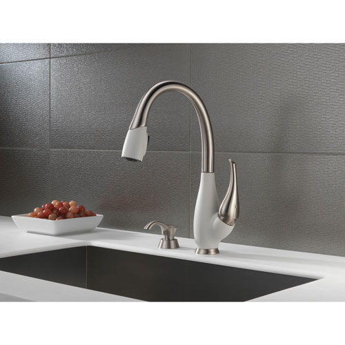 Delta Fuse Collection Stainless Steel and White Finish Single Handle Pull Down Kitchen Sink Faucet and Deck Mounted Soap Dispenser Package D076CR