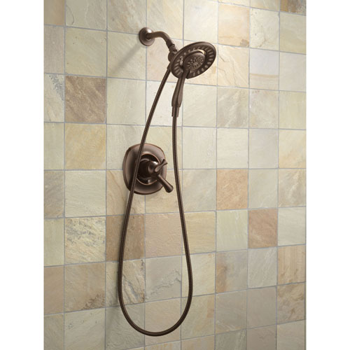 Delta Venetian Bronze Addison Shower Control with Valve, Shower Arm, Shower Flange, and In2ition 4-Setting Two-in-One Hand Shower Package D084CR