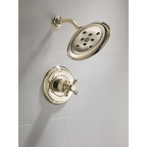 Delta Polished Nickel Finish Cassidy Monitor 14 Series Single Cross Handle Shower Only Faucet INCLUDES Rough-in Valve Package D092CR