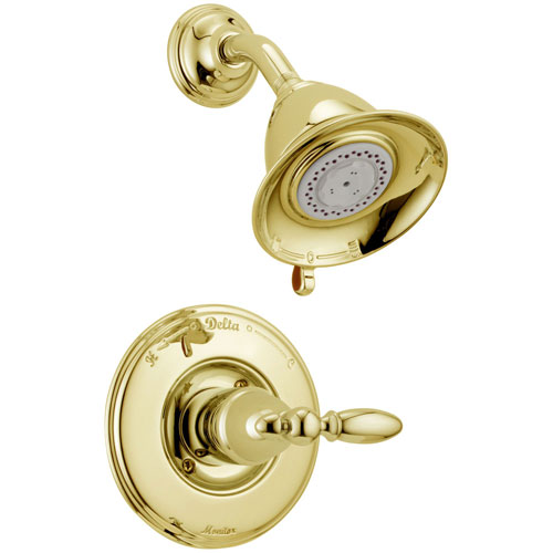 Delta Traditional Victorian Polished Brass Finish 14 Series Shower Only Faucet INCLUDES Rough-in Valve and Single Lever Handle D1202V