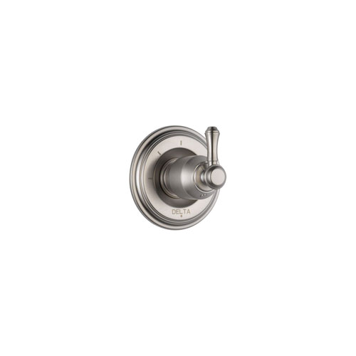 Delta Cassidy Stainless Steel Finish 3-Setting 2-Port Shower Diverter Fixture INCLUDES Rough-in Valve and Single Lever Handle D1291V