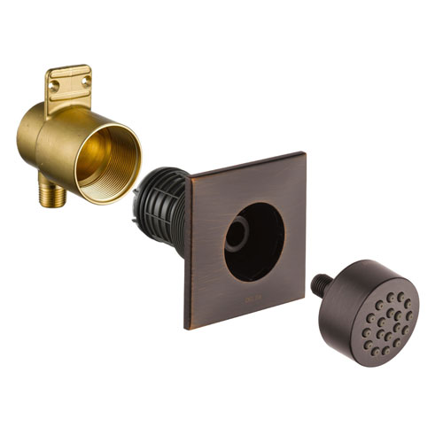 Delta Venetian Bronze Finish HydraChoice Touch Clean Square Shower System Body Spray COMPLETE Includes Valve, Trim, and Spray D1358V