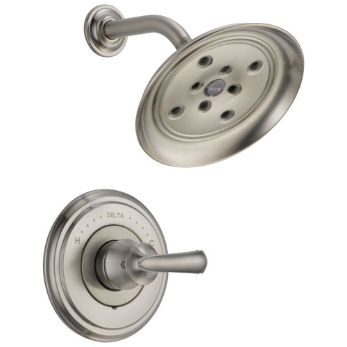 Delta Cassidy Collection Stainless Steel Finish Monitor 14 Shower only Faucet INCLUDES Single French Curve Lever Handle and Rough-Valve with Stops D1530V