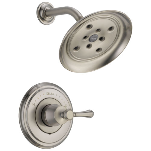 Delta Cassidy Collection Stainless Steel Finish Monitor 14 Shower only Faucet INCLUDES Single Lever Handle and Rough-Valve with Stops D1531V