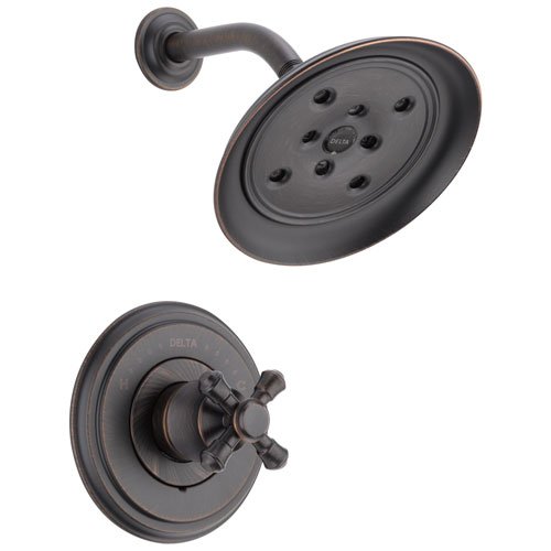 Delta Cassidy Collection Venetian Bronze Monitor 14 H2Okinetic Shower only Faucet INCLUDES Single Cross Handle and Rough-Valve with Stops D1535V