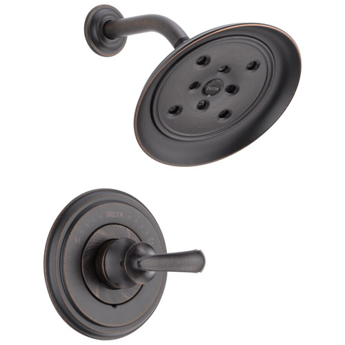 Delta Cassidy Collection Venetian Bronze Monitor 14 H2Okinetic Shower only Faucet INCLUDES Single French Scroll Handle and Rough-Valve with Stops D1536V