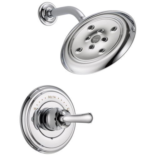 Delta Cassidy Collection Chrome Monitor 14 Series H2Okinetic Shower only Faucet INCLUDES Single French Curve Handle and Rough-Valve with Stops D1546V