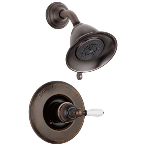 Delta Victorian Collection Venetian Bronze Traditional Style Monitor 14 Shower Faucet INCLUDES Single White Lever Handle and Rough-Valve without Stops D1557V