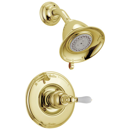 Delta Victorian Collection Polished Brass Finish Traditional Style Monitor 14 Shower Faucet INCLUDES Single Porcelain Lever Handle and Rough-Valve with Stops D1567V